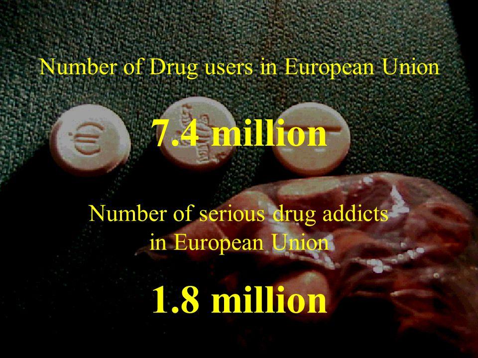 Number of Drug users in European Union 7.4 million Number of serious drug addicts in European Union 1.8 million