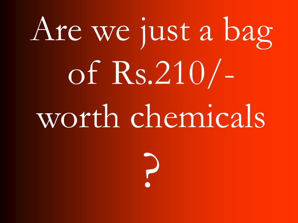 Are we just a bag of Rs.210/- worth chemicals ?