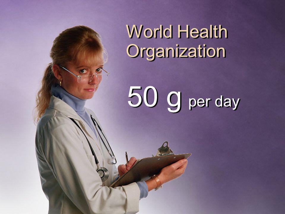 World Health Organization 50 g per day
