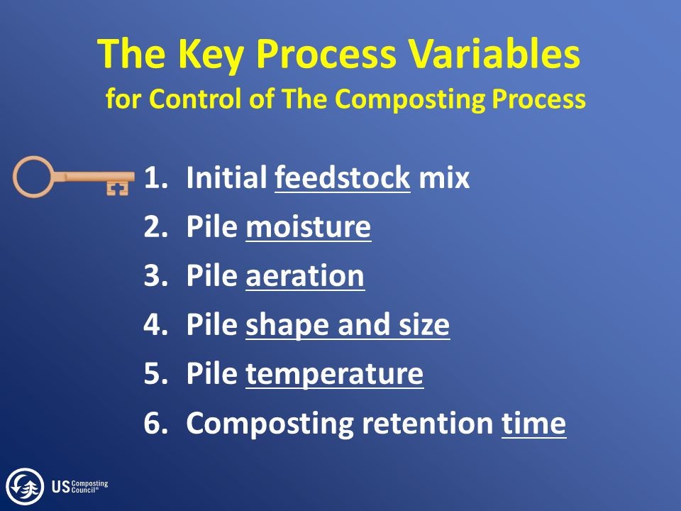 The Key Process Variables for Control of The Composting Process 1.Initial feedstock mix 2.Pile moisture 3.Pile aeration 4.Pile shape and size 5.Pile t