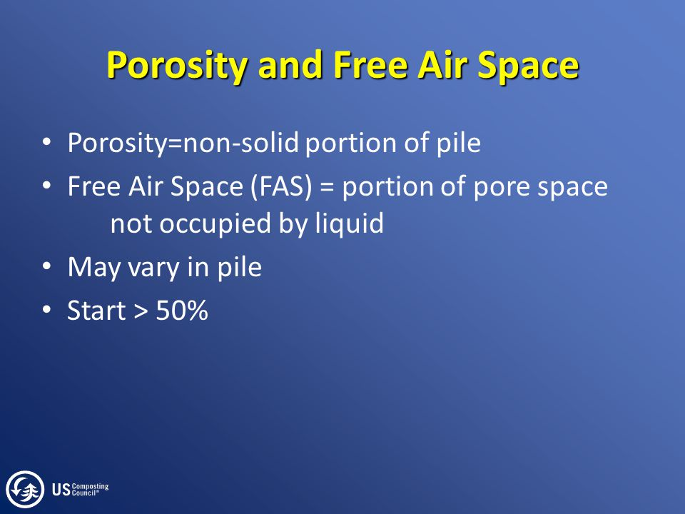 Porosity and Free Air Space Porosity=non-solid portion of pile Free Air Space (FAS) = portion of pore space not occupied by liquid May vary in pile St