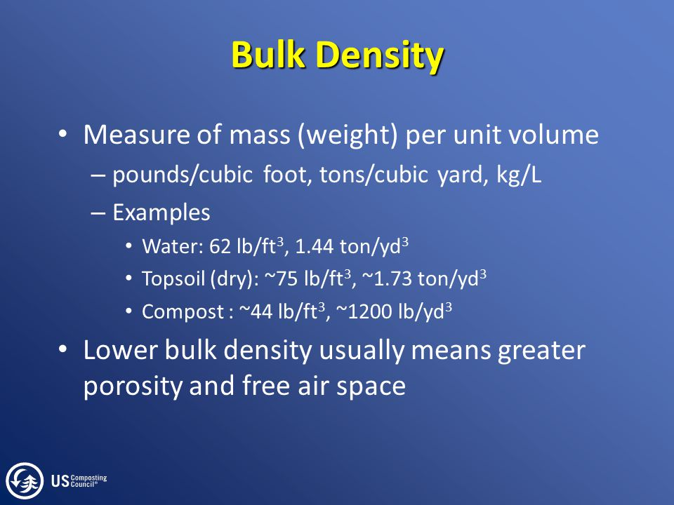 Bulk Density Measure of mass (weight) per unit volume – pounds/cubic foot, tons/cubic yard, kg/L – Examples Water: 62 lb/ft 3, 1.44 ton/yd 3 Topsoil (