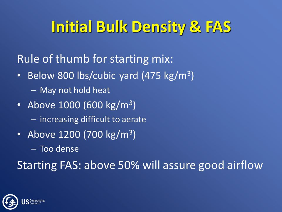 Initial Bulk Density & FAS Rule of thumb for starting mix: Below 800 lbs/cubic yard (475 kg/m 3 ) – May not hold heat Above 1000 (600 kg/m 3 ) – incre
