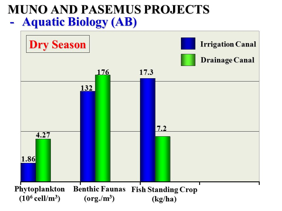 1.86 132 4.27 17617.3 7.2 Phytoplankton (10 6 cell/m 3 ) Dry Season Irrigation Canal Drainage Canal Benthic Faunas (org./m 3 ) Fish Standing Crop (kg/ha) -Aquatic Biology (AB) MUNO AND PASEMUS PROJECTS