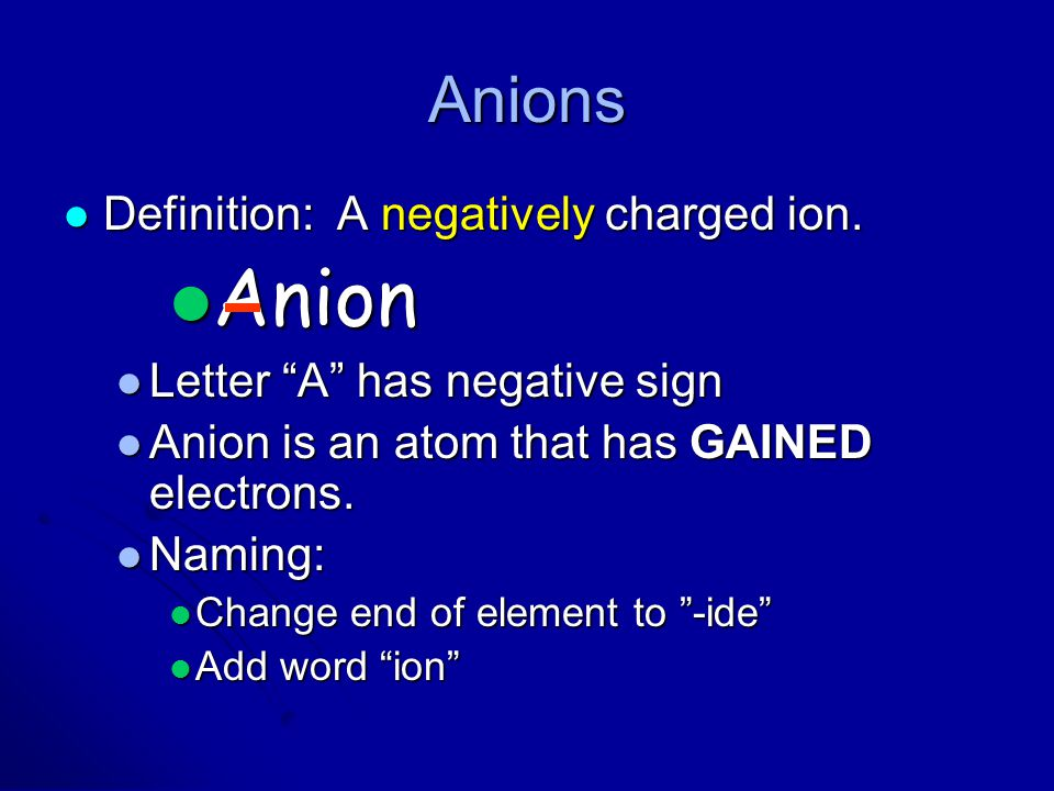 """Anions Definition: A negatively charged ion. Definition: A negatively charged ion. Anion Anion Letter """"A"""" has negative sign Letter """"A"""" has negative si"""