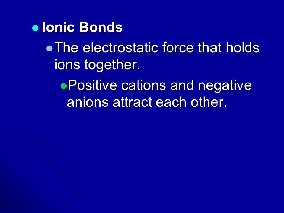 Ionic Bonds Ionic Bonds The electrostatic force that holds ions together. The electrostatic force that holds ions together. Positive cations and negat