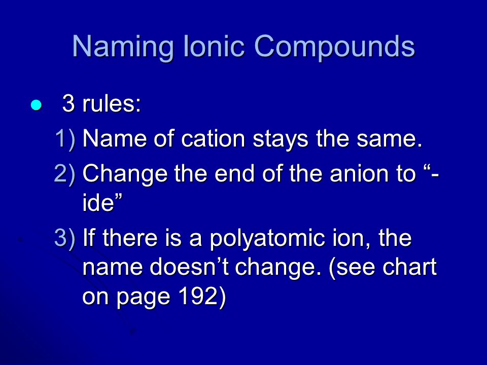 """Naming Ionic Compounds 3 rules: 3 rules: 1)Name of cation stays the same. 2)Change the end of the anion to """"- ide"""" 3)If there is a polyatomic ion, the"""