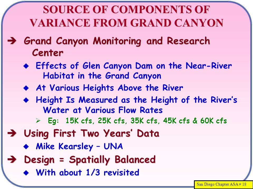 San Diego Chapter ASA # 18 SOURCE OF COMPONENTS OF VARIANCE FROM GRAND CANYON  Grand Canyon Monitoring and Research Center  Effects of Glen Canyon Dam on the Near-River Habitat in the Grand Canyon  At Various Heights Above the River  Height Is Measured as the Height of the River's Water at Various Flow Rates  Eg: 15K cfs, 25K cfs, 35K cfs, 45K cfs & 60K cfs  Using First Two Years' Data  Mike Kearsley – UNA  Design = Spatially Balanced  With about 1/3 revisited