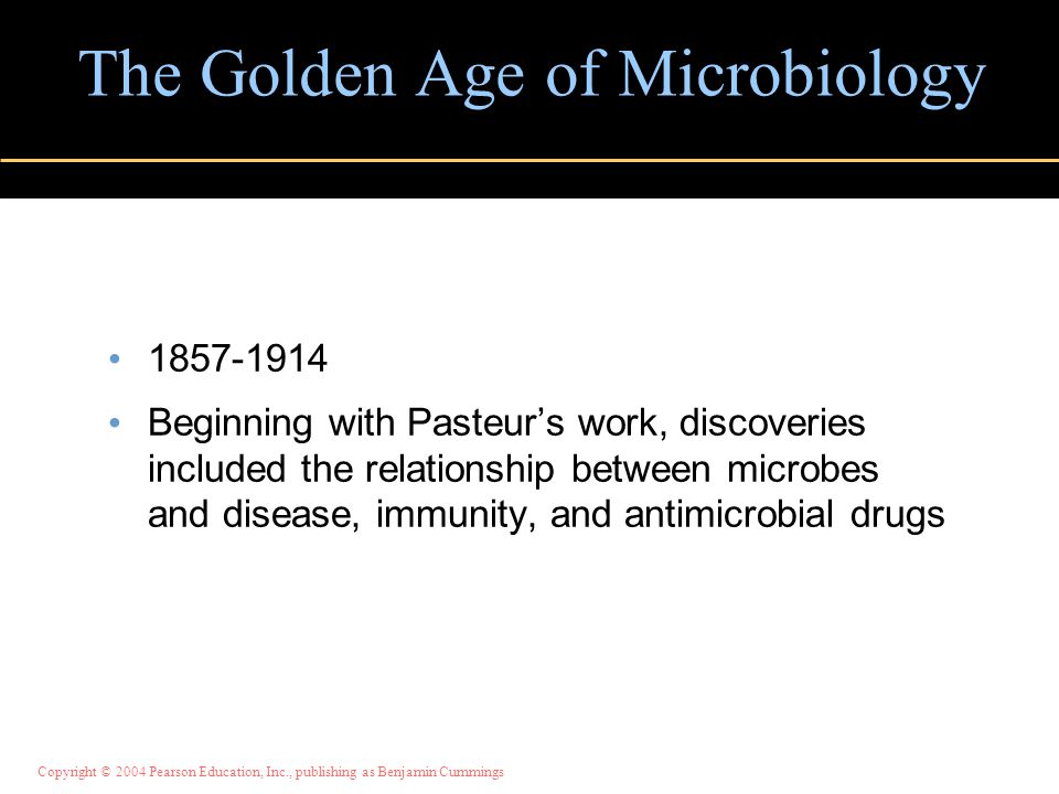 Copyright © 2004 Pearson Education, Inc., publishing as Benjamin Cummings The Golden Age of Microbiology 1857-1914 Beginning with Pasteur's work, discoveries included the relationship between microbes and disease, immunity, and antimicrobial drugs