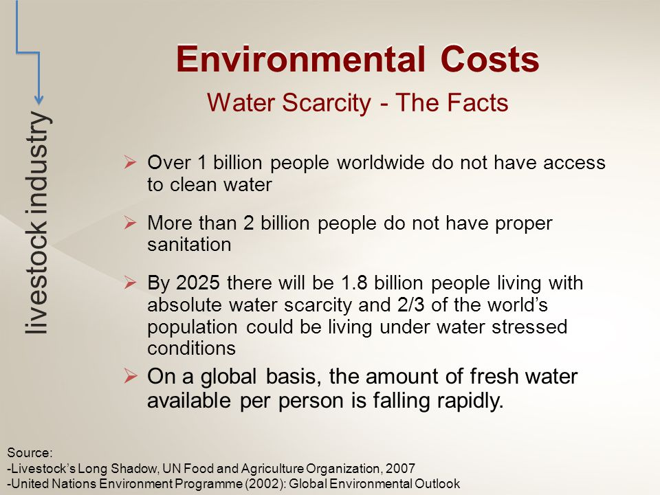 Water Scarcity - The Facts  Over 1 billion people worldwide do not have access to clean water  More than 2 billion people do not have proper sanitation  By 2025 there will be 1.8 billion people living with absolute water scarcity and 2/3 of the world's population could be living under water stressed conditions  On a global basis, the amount of fresh water available per person is falling rapidly.