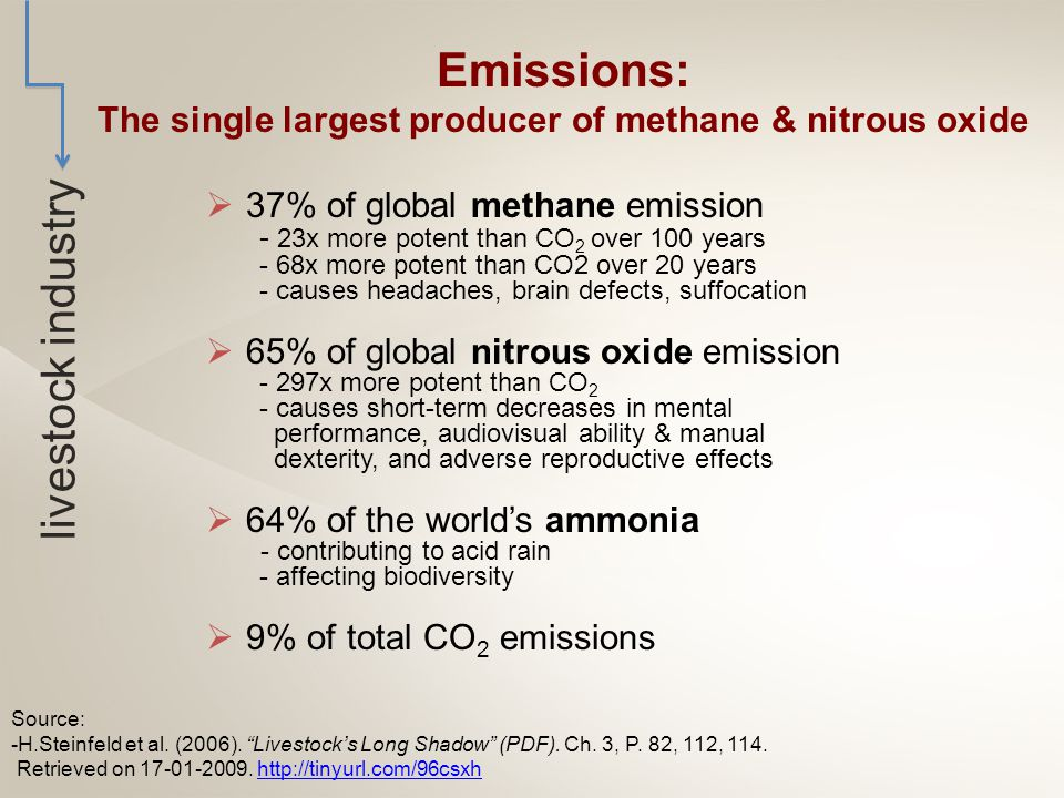  37% of global methane emission - 23x more potent than CO 2 over 100 years - 68x more potent than CO2 over 20 years - causes headaches, brain defects, suffocation  65% of global nitrous oxide emission - 297x more potent than CO 2 - causes short-term decreases in mental performance, audiovisual ability & manual dexterity, and adverse reproductive effects  64% of the world's ammonia - contributing to acid rain - affecting biodiversity  9% of total CO 2 emissions Source: -H.Steinfeld et al.
