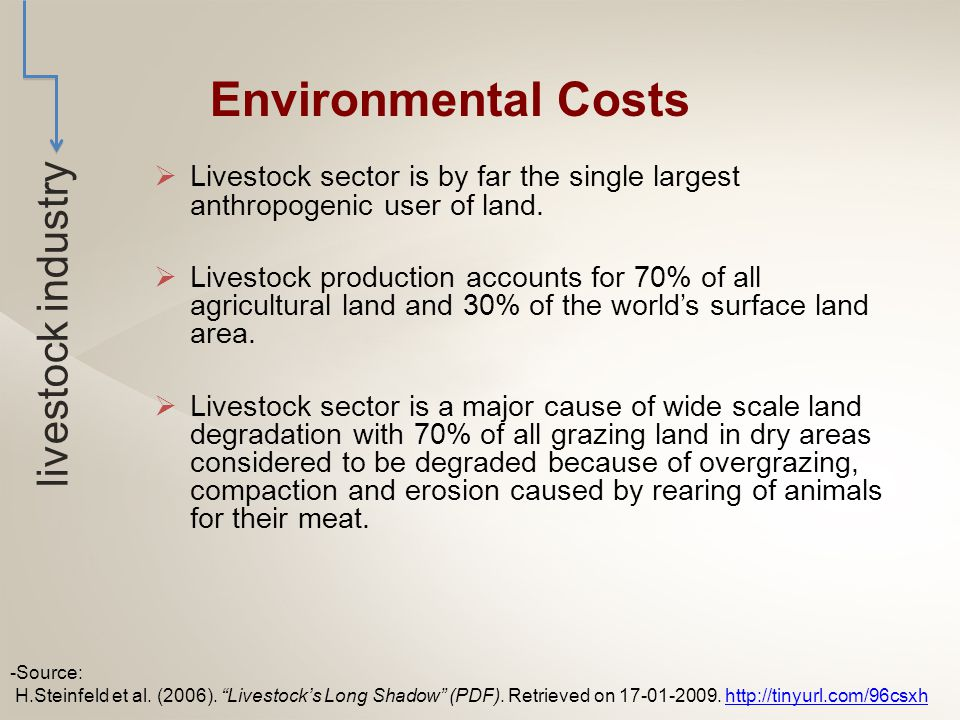  Livestock industry is the largest sectoral source of water pollutants.
