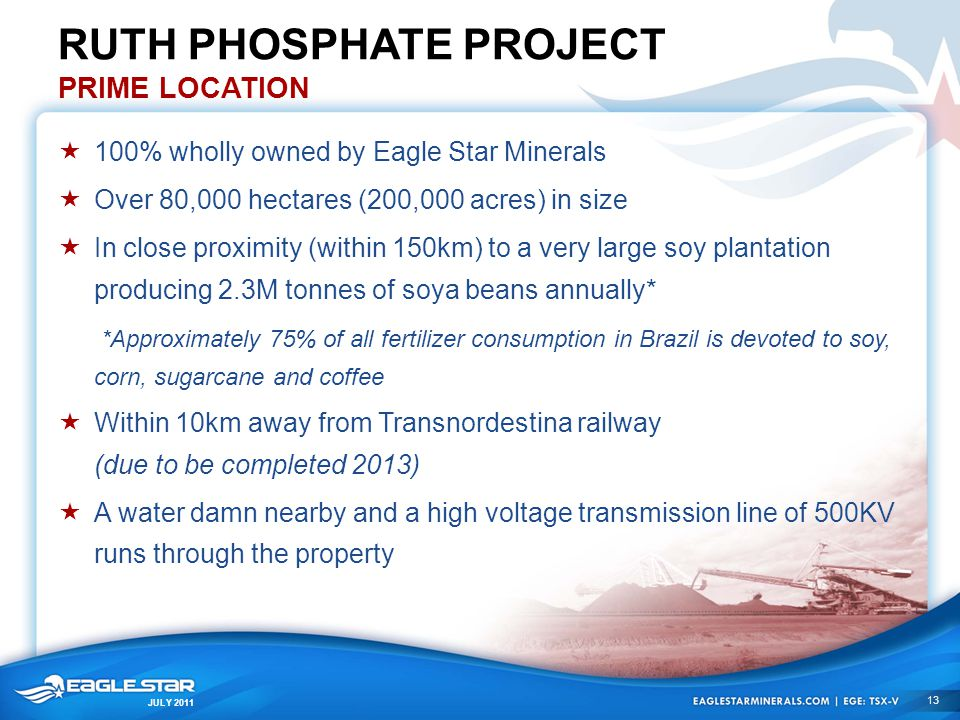 JULY 2011 RUTH PHOSPHATE PROJECT PRIME LOCATION  100% wholly owned by Eagle Star Minerals  Over 80,000 hectares (200,000 acres) in size  In close p