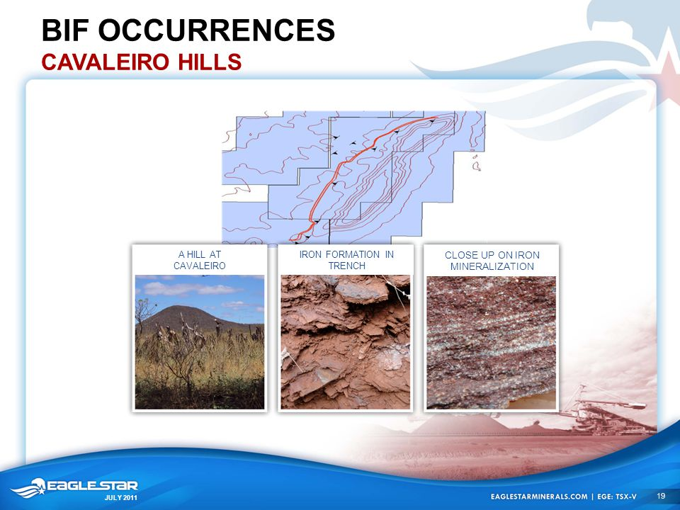 JULY 2011 BIF OCCURRENCES CAVALEIRO HILLS A HILL AT CAVALEIRO IRON FORMATION IN TRENCH CLOSE UP ON IRON MINERALIZATION 19