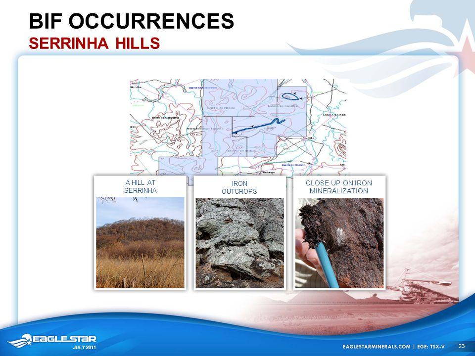 JULY 2011 BIF OCCURRENCES SERRINHA HILLS A HILL AT SERRINHA IRON OUTCROPS CLOSE UP ON IRON MINERALIZATION 23