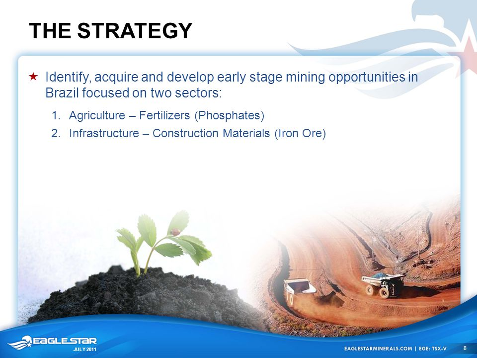 JULY 2011 THE STRATEGY  Identify, acquire and develop early stage mining opportunities in Brazil focused on two sectors: 1.Agriculture – Fertilizers