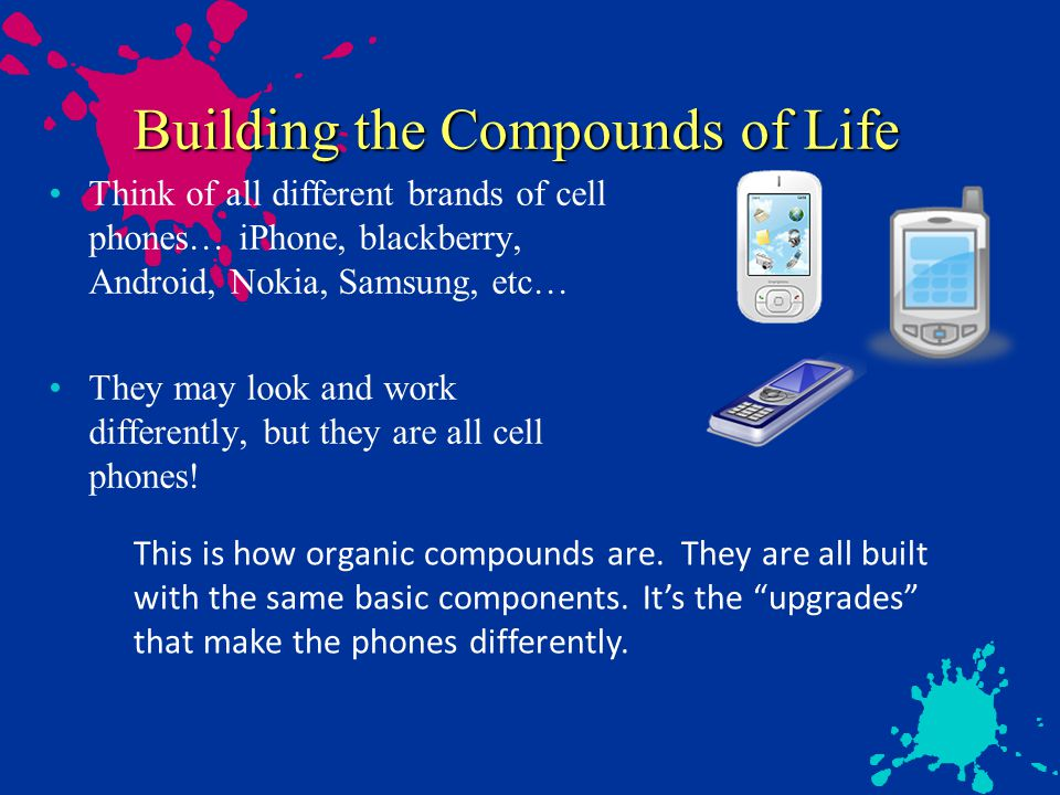 Building the Compounds of Life Think of all different brands of cell phones… iPhone, blackberry, Android, Nokia, Samsung, etc… They may look and work