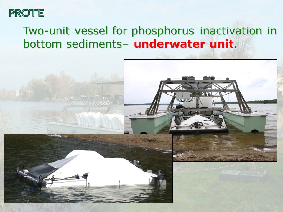 Two-unit vessel for phosphorus inactivation in bottom sediments– underwater unit.