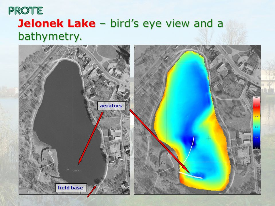 Jelonek Lake – bird's eye view and a bathymetry. field base aerators