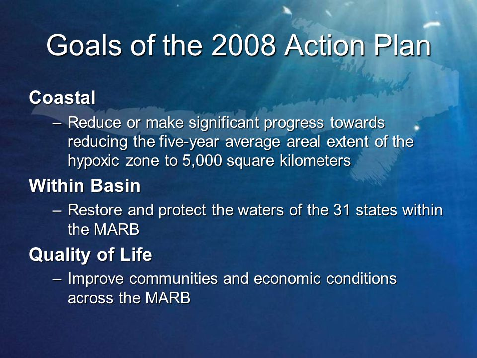 Goals of the 2008 Action Plan Coastal –Reduce or make significant progress towards reducing the five-year average areal extent of the hypoxic zone to 5,000 square kilometers Within Basin –Restore and protect the waters of the 31 states within the MARB Quality of Life –Improve communities and economic conditions across the MARB