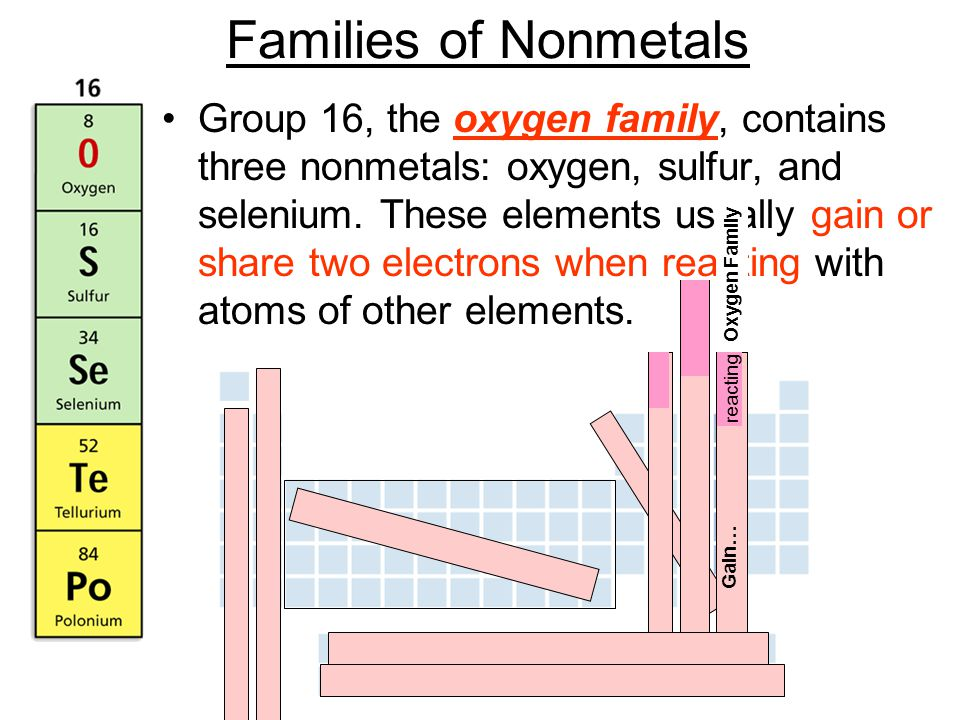 Families of Nonmetals Group 16, the oxygen family, contains three nonmetals: oxygen, sulfur, and selenium.