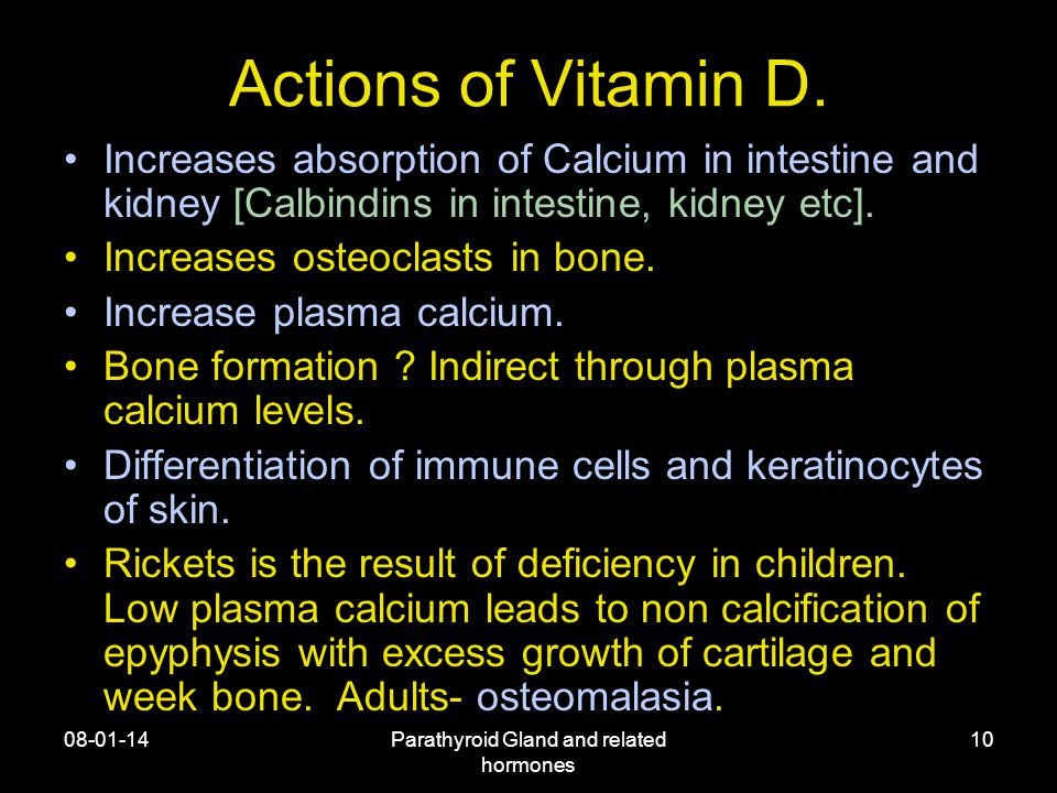 08-01-14Parathyroid Gland and related hormones 10 Actions of Vitamin D.