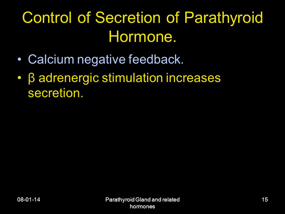 08-01-14Parathyroid Gland and related hormones 15 Control of Secretion of Parathyroid Hormone.