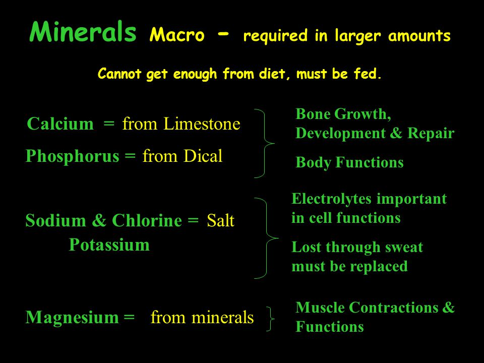 Minerals Micro (Trace) - required in smaller amounts Cannot get enough from diet, must be fed.