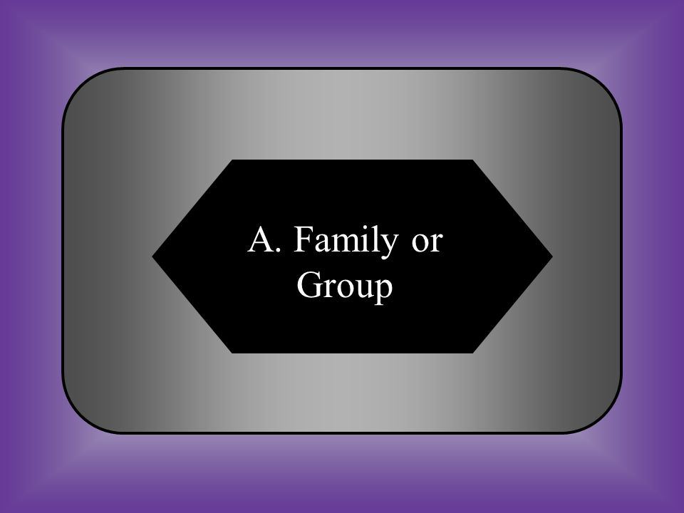 A:B: Family or GroupsFormat or Group C:D: Family of GasesFamily or Format #13 A column of elements that have similar physical or chemical properties.