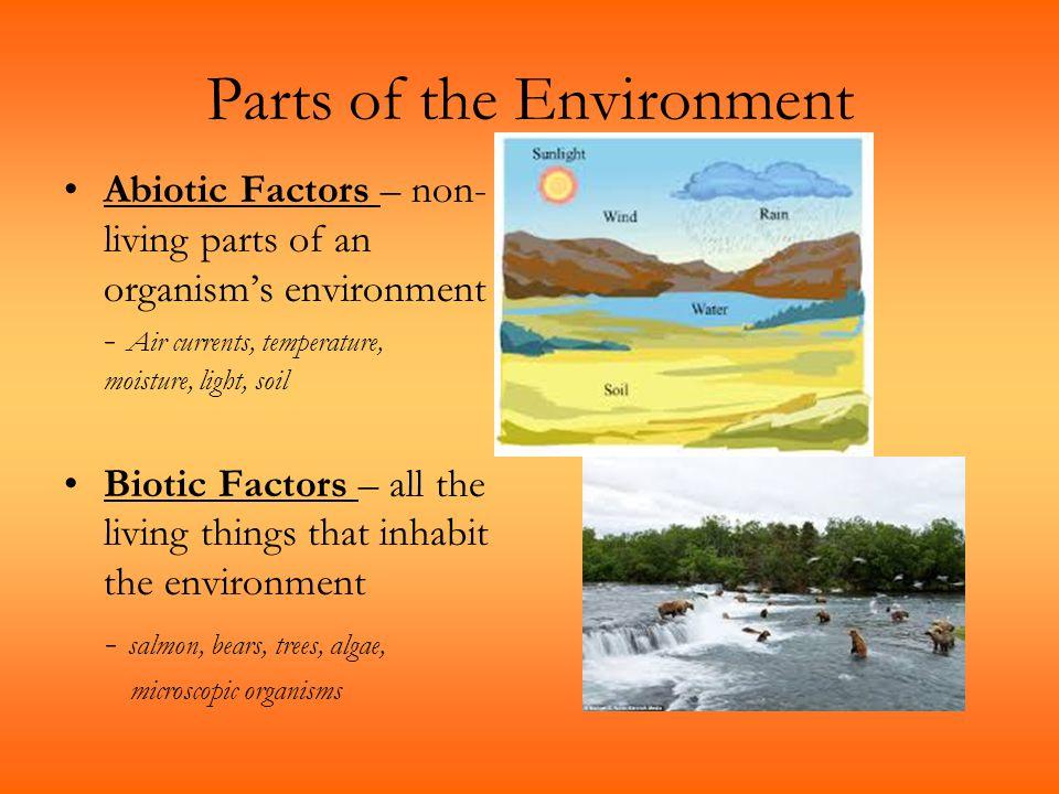 Parts of the Environment Abiotic Factors – non- living parts of an organism's environment - Air currents, temperature, moisture, light, soil Biotic Fa