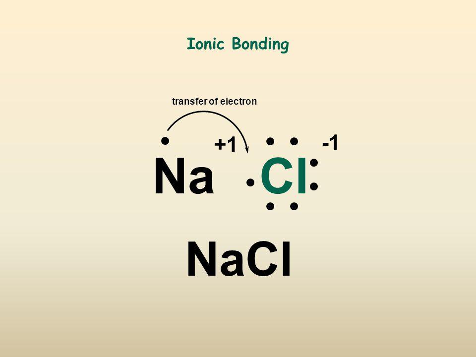 Ionic Bonding NaCl transfer of electron +1 NaCl