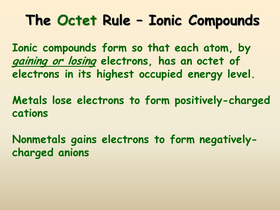 The Octet Rule – Ionic Compounds Ionic compounds form so that each atom, by gaining or losing electrons, has an octet of electrons in its highest occupied energy level.