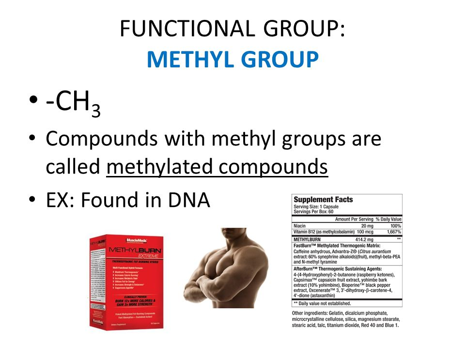 FUNCTIONAL GROUP: METHYL GROUP -CH 3 Compounds with methyl groups are called methylated compounds EX: Found in DNA