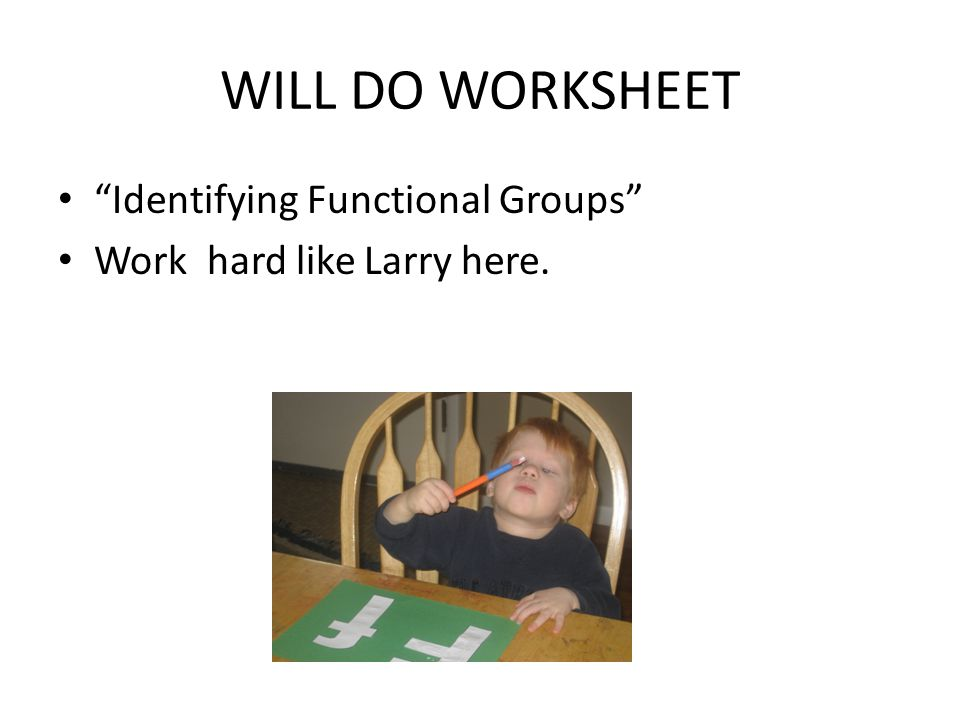 WILL DO WORKSHEET Identifying Functional Groups Work hard like Larry here.