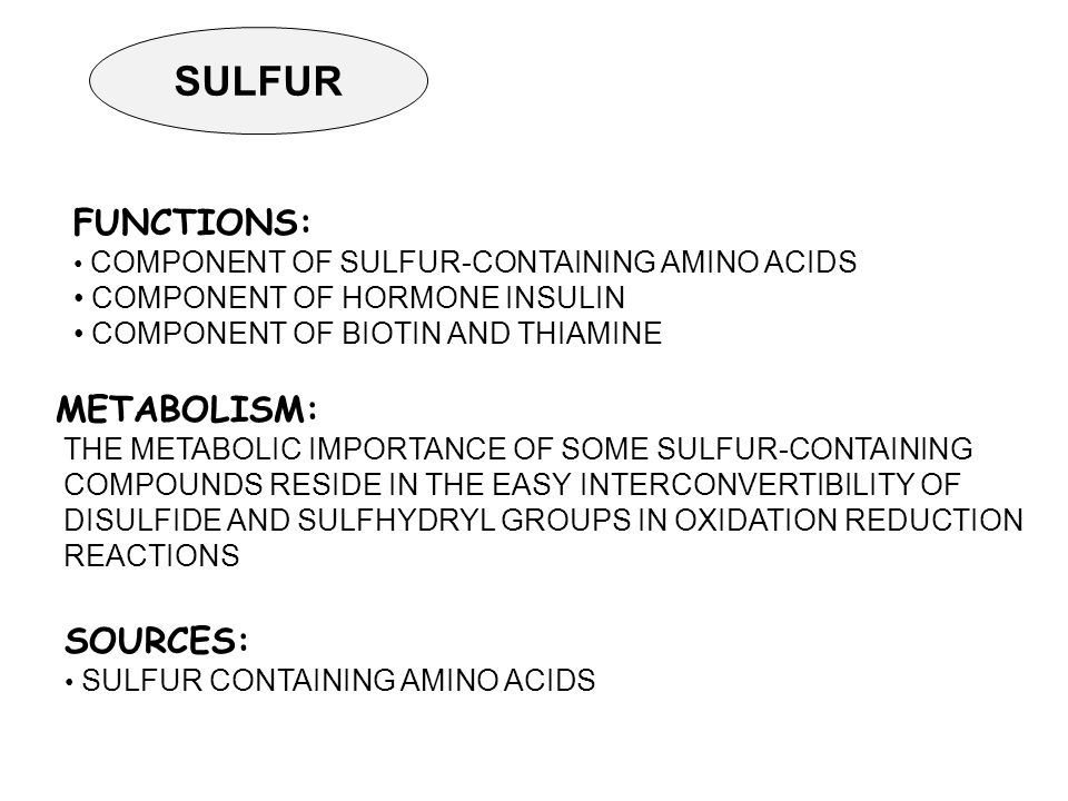 SULFUR SOURCES: SULFUR CONTAINING AMINO ACIDS METABOLISM: THE METABOLIC IMPORTANCE OF SOME SULFUR-CONTAINING COMPOUNDS RESIDE IN THE EASY INTERCONVERTIBILITY OF DISULFIDE AND SULFHYDRYL GROUPS IN OXIDATION REDUCTION REACTIONS FUNCTIONS: COMPONENT OF SULFUR-CONTAINING AMINO ACIDS COMPONENT OF HORMONE INSULIN COMPONENT OF BIOTIN AND THIAMINE