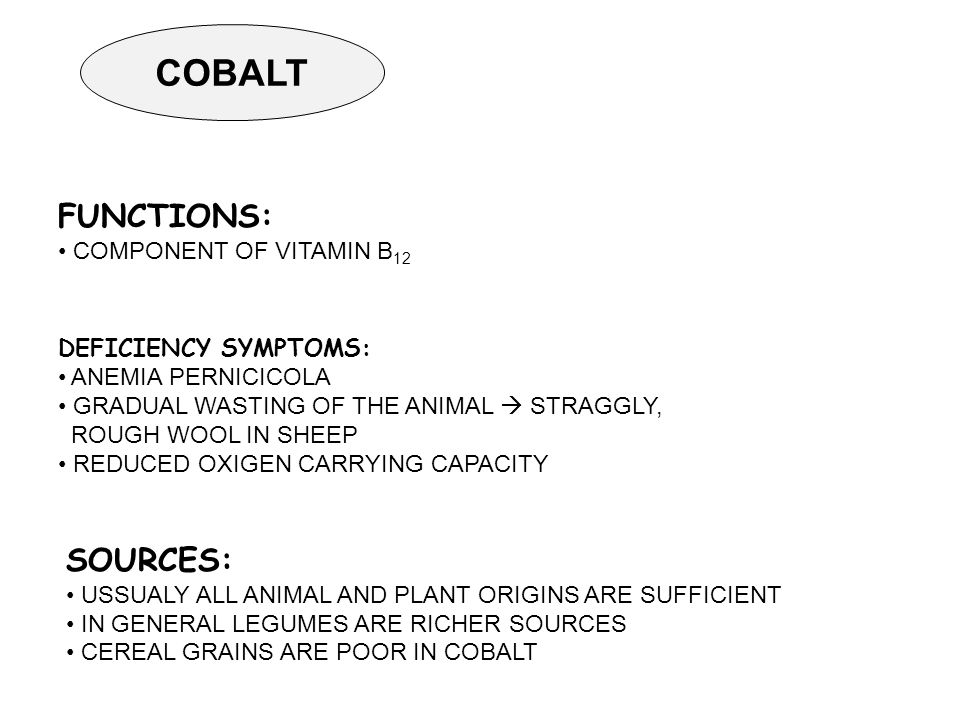 COBALT FUNCTIONS: COMPONENT OF VITAMIN B 12 DEFICIENCY SYMPTOMS: ANEMIA PERNICICOLA GRADUAL WASTING OF THE ANIMAL  STRAGGLY, ROUGH WOOL IN SHEEP REDUCED OXIGEN CARRYING CAPACITY SOURCES: USSUALY ALL ANIMAL AND PLANT ORIGINS ARE SUFFICIENT IN GENERAL LEGUMES ARE RICHER SOURCES CEREAL GRAINS ARE POOR IN COBALT