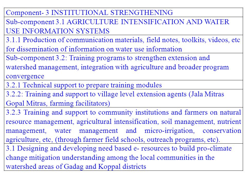 Component- 3 INSTITUTIONAL STRENGTHENING Sub-component 3.1 AGRICULTURE INTENSIFICATION AND WATER USE INFORMATION SYSTEMS 3.1.1 Production of communica