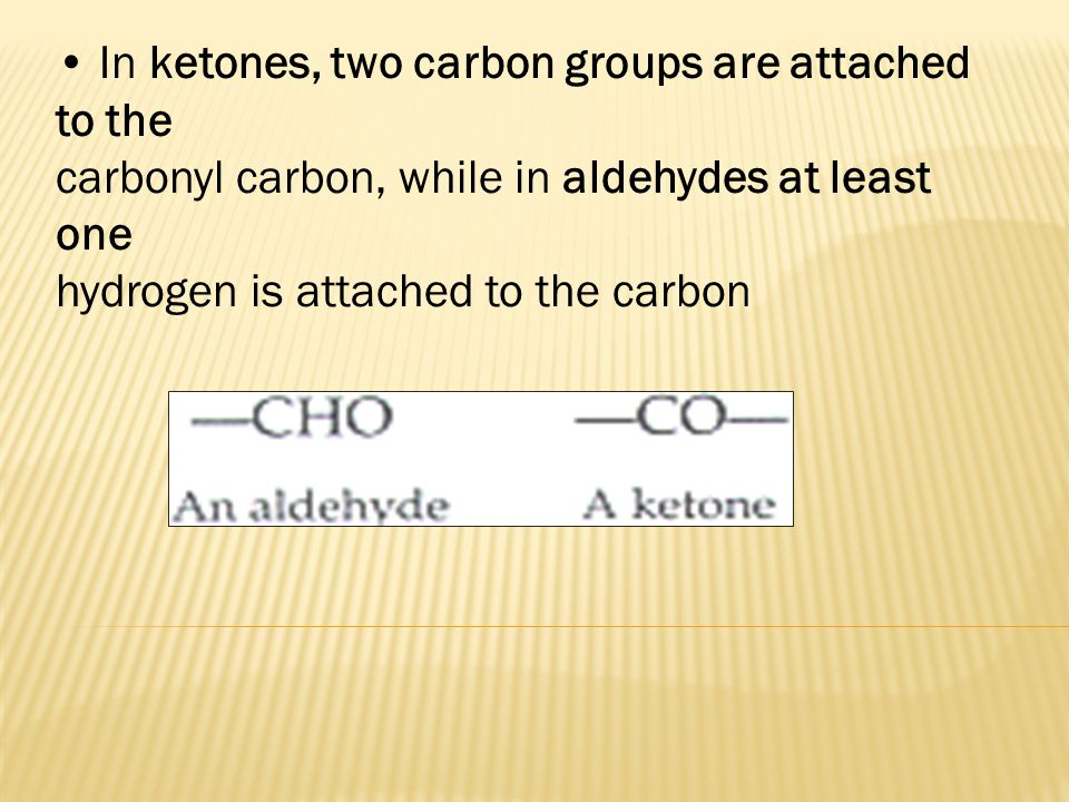 In ketones, two carbon groups are attached to the carbonyl carbon, while in aldehydes at least one hydrogen is attached to the carbon