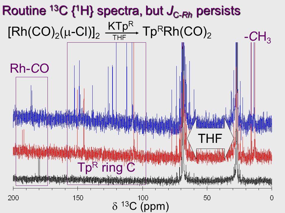 KTp R  13 C (ppm) Routine 13 C { 1 H} spectra, but J C-Rh persists [Rh(CO) 2 (  -Cl)] 2 Tp R Rh(CO) 2 THF -CH3-CH3 Tp R ring C Rh-CO