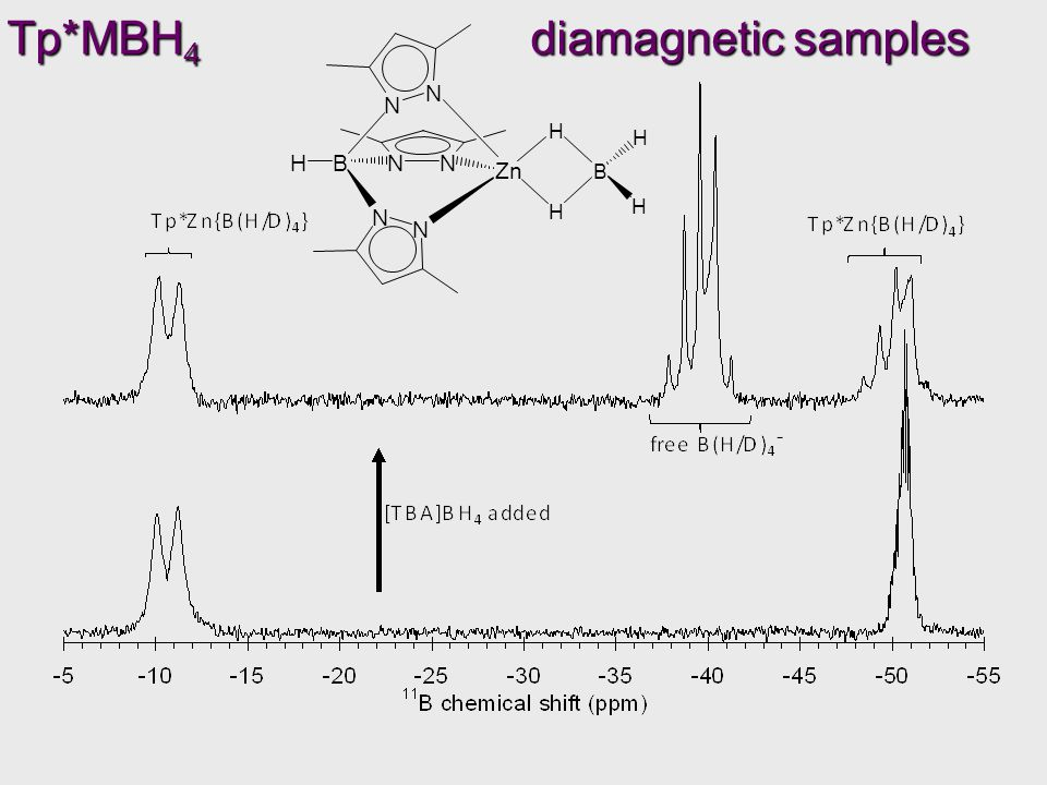 Tp*MBH 4 diamagnetic samples N N N N BNNH Zn H H H B H