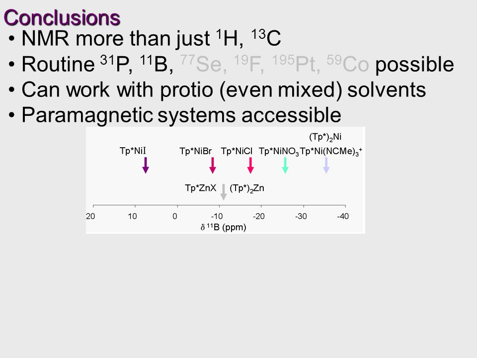 Routine 31 P, 11 B, 77 Se, 19 F, 195 Pt, 59 Co possible Can work with protio (even mixed) solvents Paramagnetic systems accessible Conclusions
