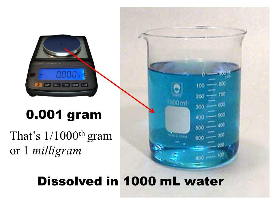 1000 mL water 0.001 gram. Dissolved in That's 1/1000 th gram or 1 milligram