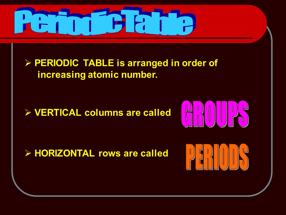  PERIODIC TABLE is arranged in order of increasing atomic number.