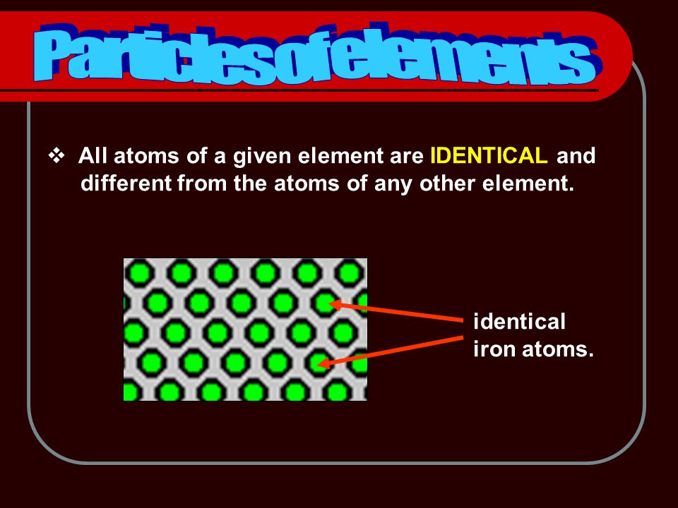  All atoms of a given element are IDENTICAL and different from the atoms of any other element.