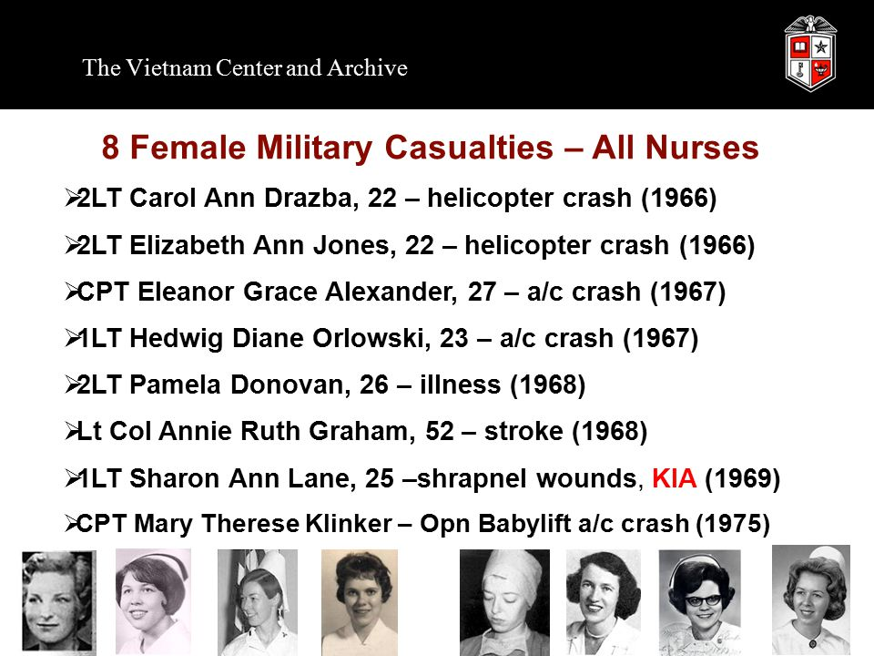 8 Female Military Casualties – All Nurses  2LT Carol Ann Drazba, 22 – helicopter crash (1966)  2LT Elizabeth Ann Jones, 22 – helicopter crash (1966)  CPT Eleanor Grace Alexander, 27 – a/c crash (1967)  1LT Hedwig Diane Orlowski, 23 – a/c crash (1967)  2LT Pamela Donovan, 26 – illness (1968)  Lt Col Annie Ruth Graham, 52 – stroke (1968)  1LT Sharon Ann Lane, 25 –shrapnel wounds, KIA (1969)  CPT Mary Therese Klinker – Opn Babylift a/c crash (1975)