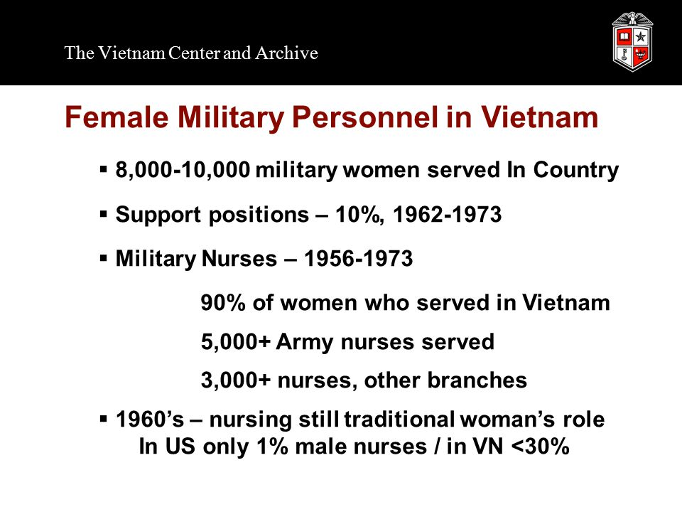 The Vietnam Center and Archive Female Military Personnel in Vietnam  8,000-10,000 military women served In Country  Support positions – 10%, 1962-1973  Military Nurses – 1956-1973 90% of women who served in Vietnam 5,000+ Army nurses served 3,000+ nurses, other branches  1960's – nursing still traditional woman's role In US only 1% male nurses / in VN <30%