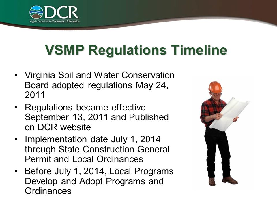 Virginia Stormwater Management Program (VSMP) Currently State Run Compliance = Water Quality –Current Compliance @ 40% –Local vs.