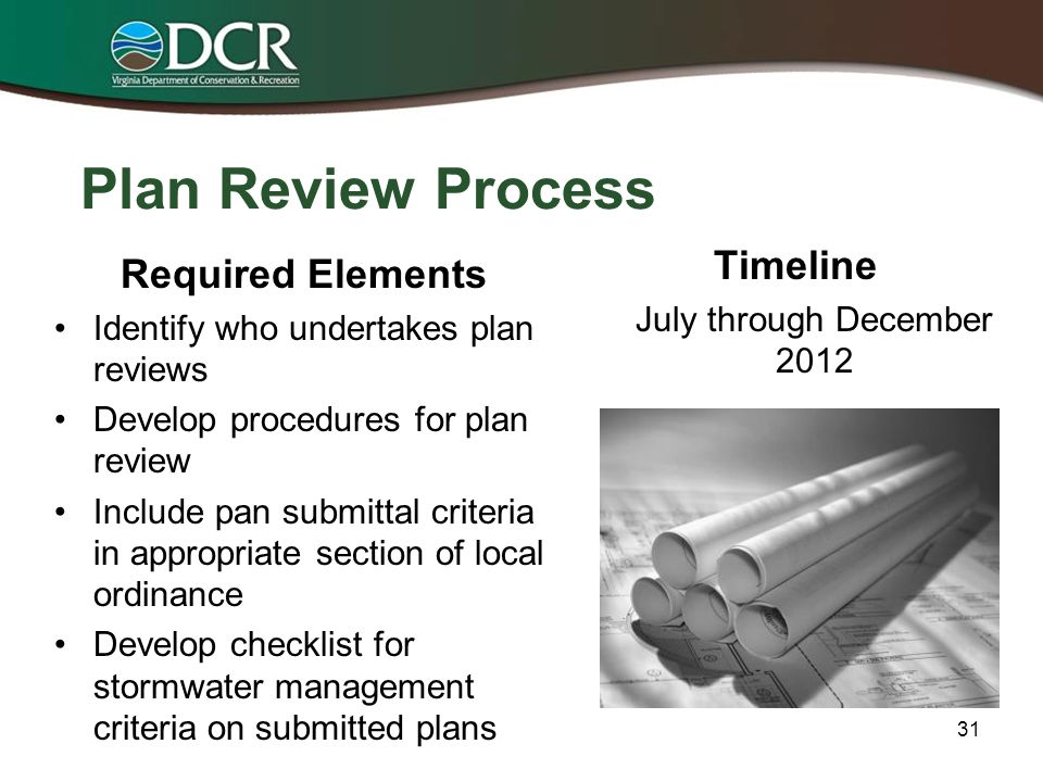 Program Administration Required Elements Identify who accepts registration statements Provide details on fee collection process Develop policies and procedures for acceptance of bonds, reporting and record keeping Develop procedures for BMP maintenance Timeline July through December 2012 30