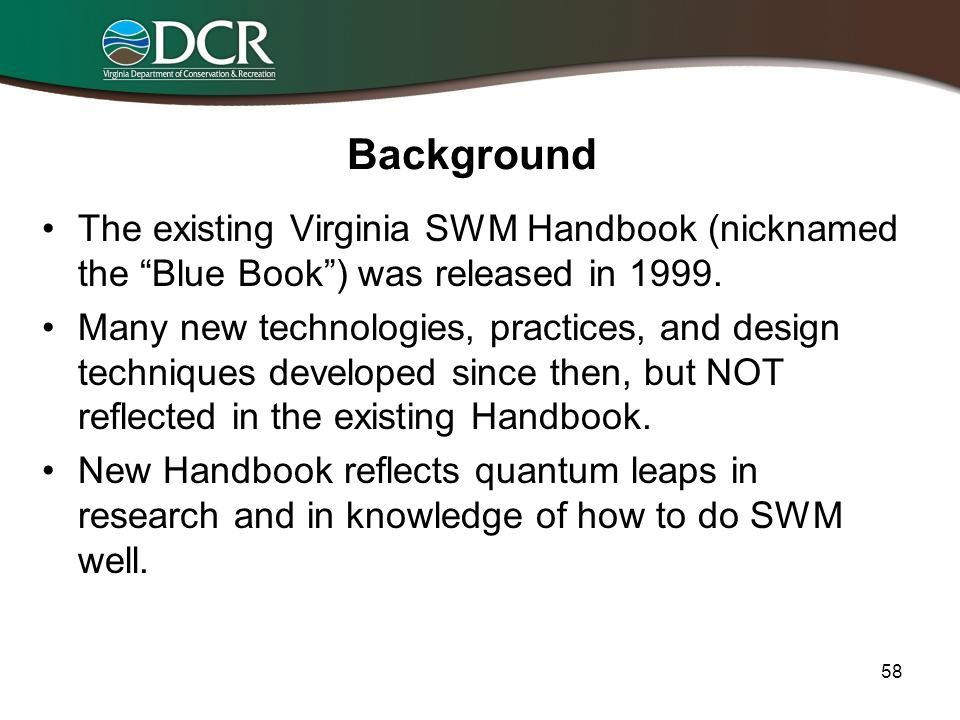 57 Resources Available in the New (Revised and Updated) Virginia Stormwater Management Handbook