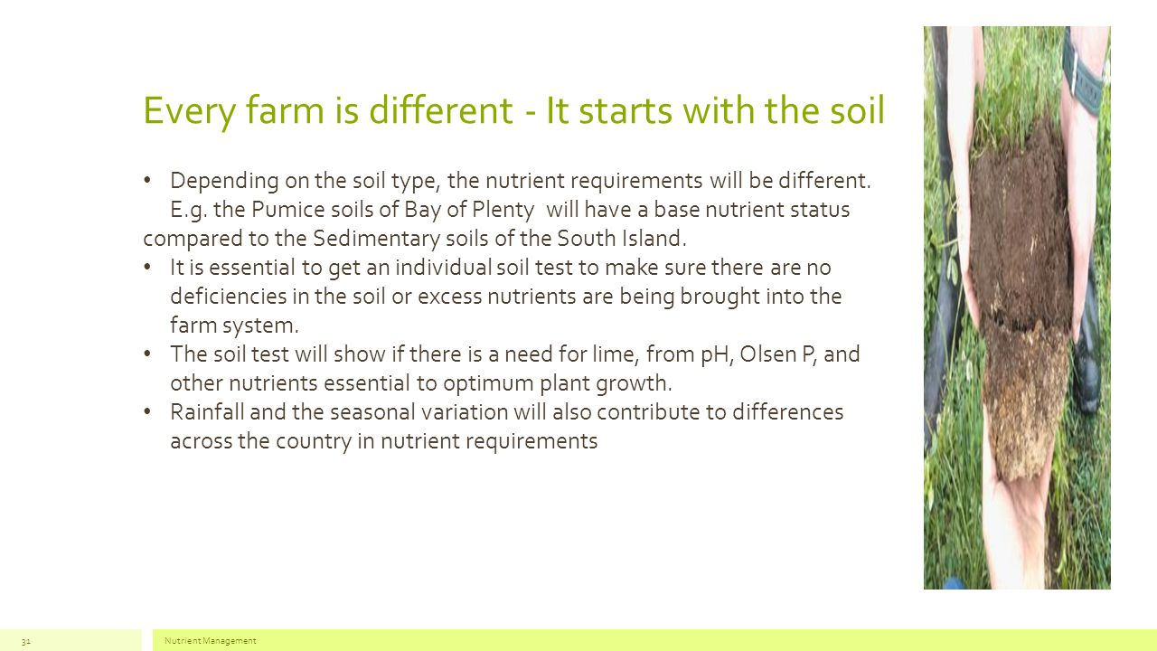 Every farm is different - It starts with the soil Nutrient Management31 Depending on the soil type, the nutrient requirements will be different.